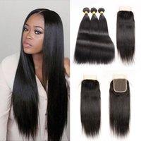 Unprocessed Indien Remy cheveux Extension 10-26 pouces 100g / bundleNatural noir avec la partie libre Lace fermeture droite cheveux humains pas cher à vendre