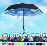 Wholesale Inverted Umbrella Double Layer Reverse Design Upside Down Umbrella Windproof With C handle or J handle designs OOA792