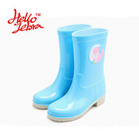 Wholesale Women Fashion Rain Boots Ladies Back Slip On Animal Prints Rubber Flat Heels Waterproof Charm Rainboots New Fashion Design Blue Yellow
