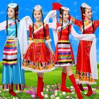 Wholesale Women Minority Clothing Yangko Wear Stage Costume Clothing Tibetan Dance Clothing Tibetan Water Sleeve
