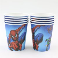 Wholesale Happy Birthday Party Supplies Decoration Kids Favors Spiderman Paper Cups Baby Shower Events Cartoon Glass Tableware