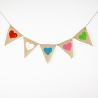 Vente en gros - Burlap Wedding Banners- Heart-Wedding Photo Prop Bunting -Personnalité Wedding Sign - Vintage Fabric Garland