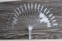 Pratique bord du ventilateur clou France-Vente en gros-Pro Nouveau 20Tips / Set Claire Couleur Faux Nail Art Graphique Couleur Clous Ongles Polonaise Pliable Planche Fan NJ009