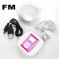Wholesale Mini Clip Mp3 Player With LCD Screen FM Radio Earphones Retail Box Support Micro SD Card Free DHL Shipping