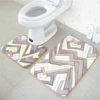 Wholesale Memory coral fleece floor mats bathroom ground mat set cm cm water absorption anti slip area rugs on sale