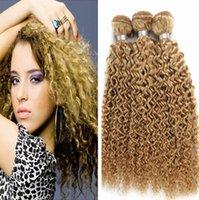 Kinky Curly 3 Bundles Extensiones de las tramas del pelo humano de la Virgen de la miel 12-24