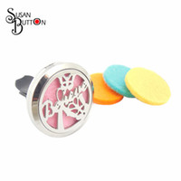 Pendant Necklaces believe clips - 10pcs Round Magnetic Letter Believe Aromatherapy Car Locket mm Stainless Steel Essential Oil Diffuser Perfume Locket Clip for Car SJSB3916