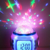 Wholesale Music Starry Star Sky Digital LED Projection Projector Alarm Clock Calendar Thermometer Clocks Home Décor