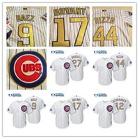 Wholesale cheap Men Chicago Cubs Kris Bryant Anthony Rizzo Javier Baez White Gold Program Cool Base stitched Players Collection Jersey