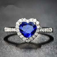Autriche Rhinestone cristal anneau de doigt bleu océan amour coeur design pour les femmes élégant élégant cadeau romantique Titanic