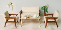 Wholesale Wood Sofa Chair End Table In Beige Couch Model Set For Living Room Dollhouse Miniature Furniture