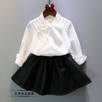 Wholesale Autumn kids Korean baby Girls Sweet with Pearl Long Sleeve Shirts The Princess style white cute
