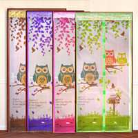 Wholesale 4 Colors Durab Summer Style Owl Print Pattern Mesh Prevent Mosquito Net on the Door Magnets Kitchen Window Curtains Door screen