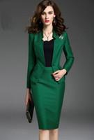 Wholesale Women s Business Suit Fashion Elegant Temperament Slim Coat Knee length Straight Skirt Lady s Formal Clothes Sets Long Sleeve Women Wear