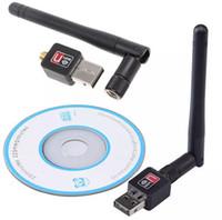 Bon Marché Ethernet cartes sans fil-Mini 150M USB WiFi Adaptateurs sans fil Network Network Card Adaptateur LAN + Antenne Ordinateur Accessoires + Driver logiciel 100pcs Free DHL