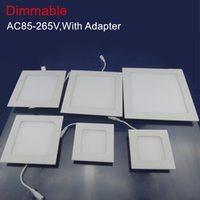 Wholesale LED Downlight W W W W W V Brightness Adjust Dimmable Ceiling LED Panel Light With Power Adapter