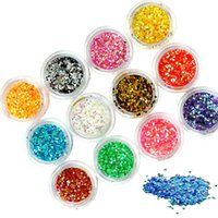art flakes - Nail Art Decorations colors High Quality Shiny Acrylic Nail Gel Tattoo Flakes Hexagon Glitter Rhinestones Decorations