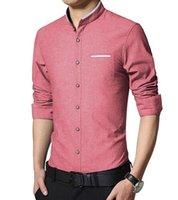 Wholesale New Fashion Casual Men Shirt Long Sleeve Mandarin Collar Slim Fit Shirt Men Korean Business Mens Dress Shirts Men Clothes M XL