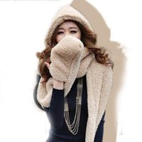 Wholesale Hot Sales Women Lady Winter Warm Wrap Fluffy Hood Ring Scarf Hat Snood Pocket Warmers With Hats Gloves fx221