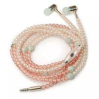 al por mayor auriculares de diamantes-Teléfono Mp3 auriculares en el oído perla de diamantes perlas collar de los pares auriculares con mic Fashional regalo muchachas auriculares auriculares 0102078
