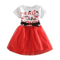 Wholesale Sweet Baby Girl Summer Fashion Knee Length cotton Printed Contrast Color Bow Belt A Line Dress For Below Years Old