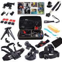 Wholesale Gopro Accessories Set in Sport Camera Travel kit Head Band Chest Belt Wrist Band Bobber Floating For hero3 Sj4000 sjcam xiaomi