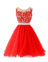 Wholesale 8 Grade Graduation Dresses Vestidos Formatura Curto Cheap Red Short Homecoming Dresses with Cap Sleeves