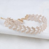 achat en gros de collier fil tissé-Fashion Gold Wire Weaving Colliers Choker Love Heart Fleur Feuilles Design Hollow Flower Wide Collier Col Colliers