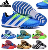 best indoor shoes - 2016 Original Adidas ACE Soccer Shoes Football Boots Indoor Men Flat Cleats Cheap Best Quality UEFA Euro Athletic Sneakers Gold Silver