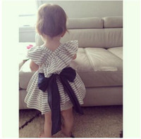 Wholesale girl dress panty set Kids cute Striped Dresses summer Girls Princess Dresses Big Bows Baby Shorts clothing sets new