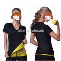 Wholesale 20pcs Women Neoprene T Shirts Hot Shapers Sweating Stretchy Slimming Control Vest S XL By DHL shipping