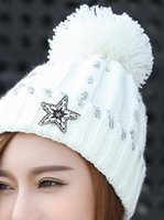 Wholesale Winter autumn Ms fashion new winter hot drilling five star hat Winter outdoor sets knitted cap hat