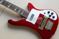 bass pickup covers - Rare Strings Metallic Red RIC Electric Bass Guitar Triangle MOP Fingerboard Inlay Chrome Pickup Cover