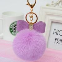 Wholesale Fur Pom Pom Keychain Fake Rabbit fur ball with PU bowknot key chain Bag Charms bunny keychain Keyring