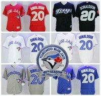 Baseball Men Short 2017 Men's 40th Toronto Blue Jays #20 Josh Donaldson White Red Grey Blue Authentic MLB Cool Base Collection Baseball Jersey