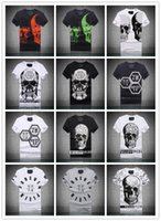 Wholesale Summer Men S Fashion Brand PP Short Sleeve T Shirt Men Casual Solid Color High Quality Skulls Sports Camisetas T Shirts