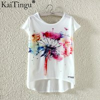 Wholesale KaiTingu Fashion Summer Kawaii Cute T Shirt Harajuku High Low Style Cat Print T shirt Short Sleeve T Shirt Women Tops Plus Size