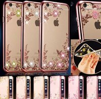 Wholesale TPU cover Plating case Secret garden bling diamond flower case for iphone Plus S s plus LG G4 G5 HUAWEI MATE8 P8 P9 Plus