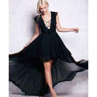 asymmetrical maxi dress - Dress V neck Dress Long Chiffon Agaric Edge Vest Cultivate One s Morality Pure Color Large Irregular Skirt New