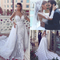 ball robe - 2017 New Wedding Dresses Said Mhamad Long Sleeves Vintage Lace Appliques Sweep Train Formal Bridal Gowns Ball Gown Arabic Dubai Bride Robes