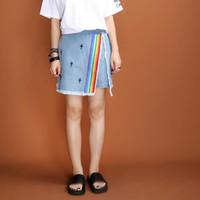 Women Regular Zipper Fly Original Design Summer 2016 new fresh short jeans zipper back rainbow embroidered denim shorts skirts women