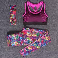Wholesale Hot Pieces Sports Bra Yoga Pants Headband Fitness Yoga Compression Pants Gym Sportswear Running Tights Women Leggings