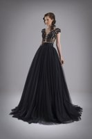 beaded short round - Black Formal Evening Dresses Sheer Illusion Round Neck with Lace Appliques Beads See Through Back Ball Gown Evening Prom Dresses