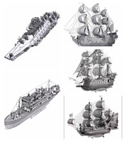 Wholesale 3D Metal Puzzle Queen Anne s Revenge Black Pearl Ship Model DIY Stainless Steel Pirate Ship Assembly Jigsaw Toy Puzzles for Adults
