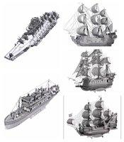 achat en gros de pirates inoxydable-Puzzle en 3D Metal Queen Anne's Revenge Black Pearl Ship Modèle DIY en acier inoxydable Pirate Ship Assembly Puzzles jouets Jigsaw pour les adultes