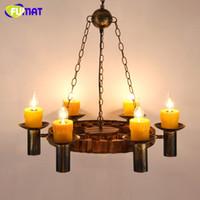 bar lampe - Vintage Wood Metal Pendant Lamp Antique Candle Resin Suspension Light Restaurant Lamp Bar Hotel Project Lampe Loft