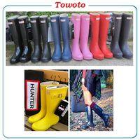 Wholesale 1 Hunter Ms glossy Rain Boots Waterproof Women Wellies Boots Woman Rain shoes High Boot Rainboots Hot Sale drop shipping DHL free