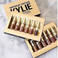 Wholesale Gold Kylie Jenner lipgloss Cosmetics Matte Lipstick Lip gloss Mini Leo Kit Lip Birthday Limited Edition with gold retail packaging