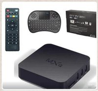 Wholesale MXQ TV Box Amlogic S805 Quad Core With XBMC KODI Loaded With RII I8 Mini Wireless Keyboard Air Fly Mouse White Black CCA5427 set