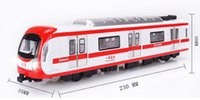 Wholesale Alloy models of subway train dynamic model car light music enter car toy car